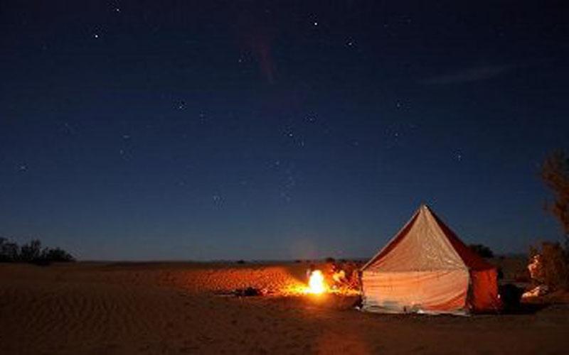 Wild bivouac in the desert Morocco